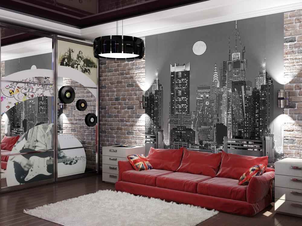 Дизайн комнаты с красными обоями